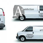 Art Addiction promotional prints on their vehicles