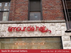 Amour De Hair Channel Letters