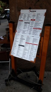 5 Napkin Menu Board