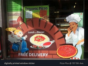 Pizza Plus Window Sticker